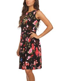 Another great find on #zulily! Black & Pink Floral Pleated Sleeveless Dress #zulilyfinds
