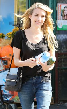 Emma Roberts from Healthy Celebs Obsessed with Green Juice  The AHS: Coven starstays hydrated with a large water and a healthy green juice while running errands in West Hollywood.