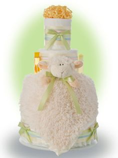 Mary had a little lamb, and so should the new baby. This 4 tier diaper cake features a soft lamb security blanket. Diaper Cake Boy, Nappy Cakes, Baby Shower Diapers, Baby Shower Gifts, Lamb Cake, Cakes For Sale, White Baby Showers, Baby Party, Cake Designs