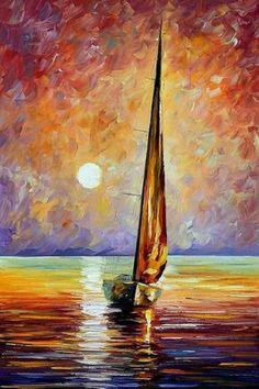 "Gold Sail — Canvas Oil Painting By Leonid Afremov. Famous Artist, Sailing Art, Ocean Decor, Sea Artwork, Seascape, Yacht, Size: 24"" X 36"""