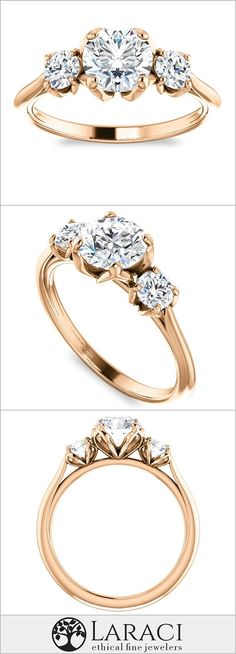 14K Rose Gold Three Stone Engagement Ring set with a 1ct (6.5mm) Round Forever One Near Colorless Moissanite