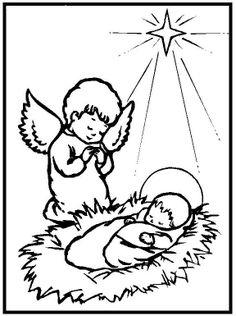 Anjo com Menino Jesus para colorir.