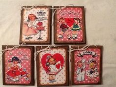 5 WOODEN Retro Children Valentines Day Gift Tags/Large Valentine Ornaments SET E