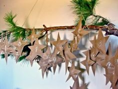 Cute advent calendar. Sew treats in brown craft paper stars and hang from branch