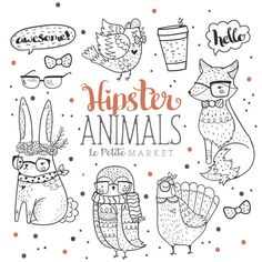 Woodland Hipster Animal Clipart Hipster Clip Art by LePetiteMarket