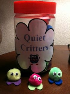 "Quiet Critters - when you have a moment when it's important for students to be quiet, pass out the quiet critters. Take them away from students who talk. At the end of the activity anyone who still has a quiet critter gets a prize, point, whatever you use. (Another idea is to ""give"" the quiet critters when you see children working quietly... that way, they're earning it instead of having it taken away.  Or give them to teams instead.  This way, it's more of a group-effort.)"