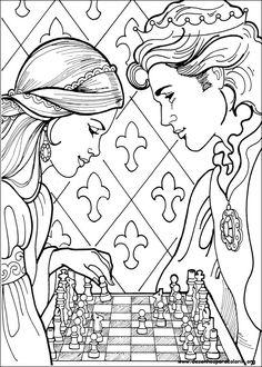 """iColor """"Princesses I"""" ~ Princesa Leonora playing chess"""