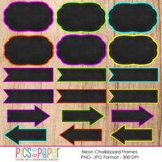 Digital Frames Neon Chalkboard