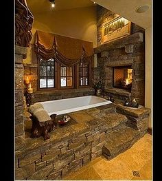 Log Cabin Bathroom Designs | log cabin guest bath. | Log Cabin Design Ideas. I would never leave my bath tub.