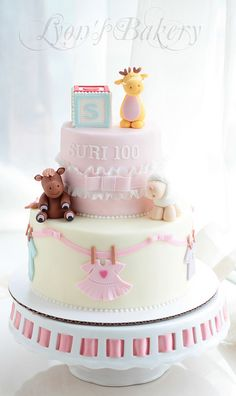Baby Shower Cake - With Cute Animal Toppers and Decoration