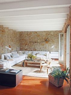Renovated rustic interiors in Girona, Spain 1 Kindesign& 45 most fabulous living room pics of 2015 Modern House Design, Modern Interior Design, Interior Design Living Room, Interior Livingroom, Natural Interior, Rustic Contemporary, Stone Houses, Rustic Interiors, House Styles