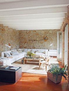 Renovated rustic interiors in Girona, Spain 1 Kindesign& 45 most fabulous living room pics of 2015 Modern House Design, Modern Interior Design, Interior Design Living Room, Interior Livingroom, Rustic Contemporary, Modern Rustic, Natural Interior, Scandinavian Interior, Rustic Interiors