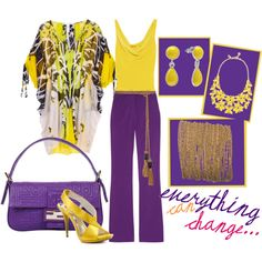 """""""Complementary colors"""" by meritza on Polyvore;  When your design brief calls for a strong punchy look consider working with complementary colours for an energetic lift to your outfit."""