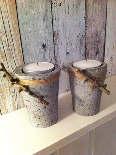 Cement votive candle holders wrapped in twine with sticks