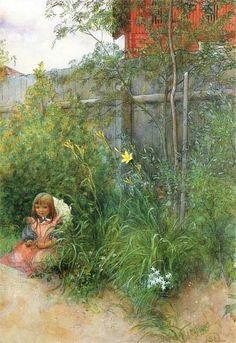 Brita In The Flowerbed ~ (Carl Larsson, Swedish Painter, 1853-1919).  Love this artist!!!