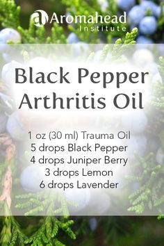 Trauma Oil is very therapeutic all by itself for conditions that affect the joints and muscles.   Black Pepper (Piper nigrum) essential oil offers quick relief, and like a good friend, hangs around offering comfort.