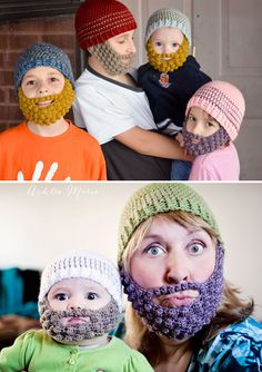 Grandma, Grand baby and every age in between all rockin the crochet bearded beanies
