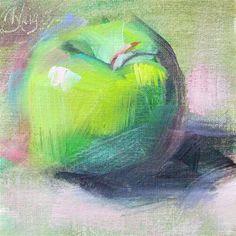 "Daily Paintworks - ""Green Apple"" - Original Fine Art for Sale - © Pamela Blaies"