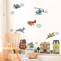Airplanes and Helicopters - Peel and Stick Repositionable Fabric Stickers- So cute for growing up from nursery to boy's room!