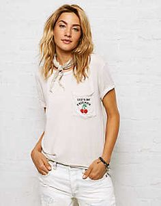 Don't Ask Why Pocket T-Shirt, Cream | American Eagle Outfitters