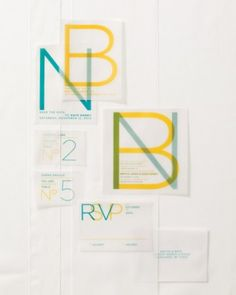 Cool modern take on velum wedding invitations from Enormous Champion // Martha Stewart Weddings