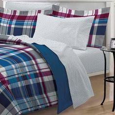 @Overstock.com - Varsity Plaid 7-piece Bed in a Bag with Sheet Set - The ultra soft comforter and sham showcase a classic plaid motif in multiple colors of denim blue, burgundy, grey and white and reverse to a solid denim blue. The coordinating sheet set features an all over geometric print.  http://www.overstock.com/Bedding-Bath/Varsity-Plaid-7-piece-Bed-in-a-Bag-with-Sheet-Set/8306419/product.html?CID=214117 $39.99