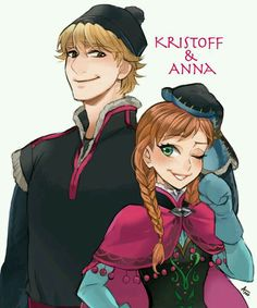 Anna and Kristoff in Anime style