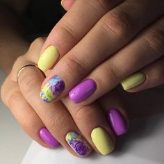 Bright summer nails, Bright violet nails, Bright yellow nails, Exquisite nails, Manicure by summer dress, Nails with flower print, Nails with stickers, Oval nails