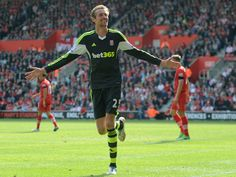 ~ Peter Crouch of Stoke City celebrating his goal against Southampton FC on the final day of the 2012-2013 Barclays Premier League Season ~