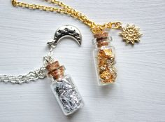 Sun and Moon vial necklaces two bottles jewelries by choumie7