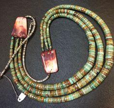 FINE VINTAGE 3 Strand Navajo Turquoise Heishi Necklace #AUTHENTICVINTAGENATIVEAMERICANJEWELRY