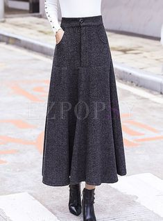 e4f6dff55d Skirts | Skirts | Vintage Woolen Striped Thicken Big Hem Skirt Waist Skirt,  Midi Skirt