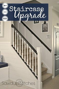 easy Stair Case Makeover with Board and Batten tutorial. www.sawdust2stitches.com