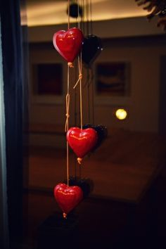 window decoration - red hearts
