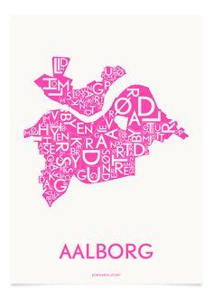 AALBORG - NEON PINK - A5, jeg har forelsket mig i disse plakater fra kortkartellet og ønsker mig alle 3 i målene 40x55❤️