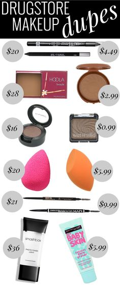 Drugstore Makeup Dupes - love me a good dupe!elf make up products;make up dupe;natural make up looks;make up primer diy;skin make up;make up fail;natural make up tutorial;make up products ch Beauty Make-up, Beauty Dupes, Beauty Hacks, Natural Beauty, Natural Makeup, Beauty Care, Beauty Blender Dupe, Beauty Makeup Tips, Beauty Advice