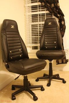 Car seats upcycled into office chairs.