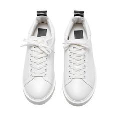 White Round Toe Lace Up Flats ($43) ❤ liked on Polyvore featuring shoes, flats, sneakers, flat pumps, white flat shoes, round cap, lace up shoes and flat heel shoes