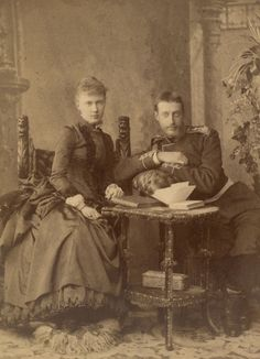 Grand Duke Konstantin Konstantinovich with Princess Elisabeth of Saxe-Altenburg in what may be an engagement photo or taken shortly after their marriage.