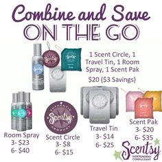 "Room sprays, Scent Circles, Travel Tins, & Scent Paks in sets of 3 each is $1 savings.  6 Room Sprays- $8 savings, 6 Scent Circles- $3 savings, 6 Travel Tins- $5 savings, & 6 Scent Paks- $7 savings. Choose the ""Combine & Save"" options. Order today at: http://ashleypaige.scentsy.us"