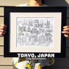 Items similar to Tokyo City x on Etsy Ueno Zoo, Roppongi Hills, Meiji Shrine, Tokyo Station, Tokyo City, Tokyo Dome, City Illustration, Rainbow Bridge, Japan