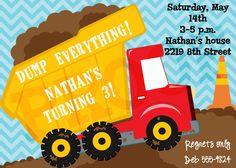 Dumptruck Construction Invitation - Dumptruck Birthday Party Invitation - Dump Truck - Construction Party - Boy Party. $15.00, via Etsy.