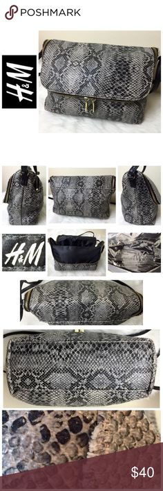 """H&M Signature Leather Crossbody Bag H&M Signature Leather Crossbody Bag, Elegant Faux Snake Embossed Leather with Gold Hardware, Zip Outside Closure with 1 Interior Zip Pocket, Approx. size is 12 1/2"""" x 9"""" x 3 1/2"""" with a 8 1/2"""" - 19 Adjustable Crossbody Strap for a Custom Fit,  Used in Excellent Condition H&M Bags Crossbody Bags"""