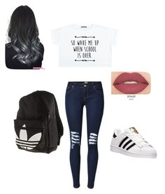 """""""WAIT SCHOOLs BACK!!"""" by amilagarcia12 on Polyvore featuring adidas and Smashbox"""