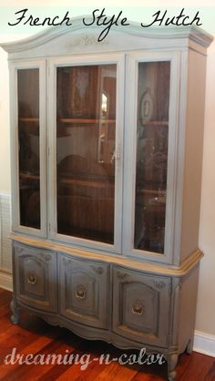 1970s Dining Room Hutch French Style Painted