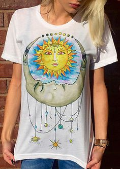 Women's Casual Sun Printed Top Blouse Jumper Pullover Shirt Tee T-shirt