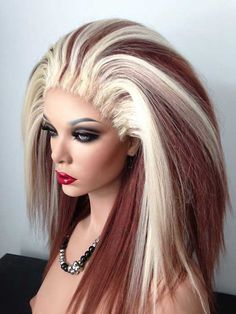 Drag Queen Wig, Platinum and Chocolate Brown