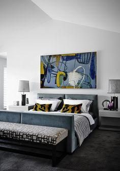 Templestowe - Classic bedroom layout with a modern twist of colour with Suzanna Lang artwork.