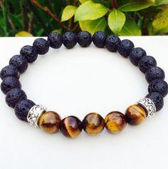 Mens Bracelet Lava and Tiger Eye Bracelet Gifts for Him  Energy Bracelet Healing Jewelry Gemstone Bracelet Mens Yoga Mala Jewelry by MalaLovebeads on Etsy