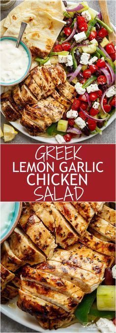 Greek Lemon Garlic Chicken Salad with an incredible dressing that doubles as a marinade! Complete with Tzatziki and homemade flatbreads, it's a winner!   http://cafedelites.com